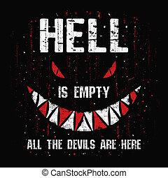 yeux, monstre, terrible, shakespeare, sombre, illustration, citation, art, terrifiant, spooky, enfer, effrayant, texte, figure, halloween, conceptuel, teeth., design., diables, vide, saisonnier, william, here., tout