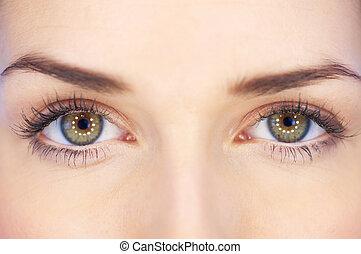 yeux, vert