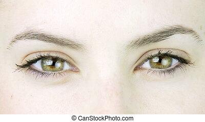 yeux verts, closeup, extrême