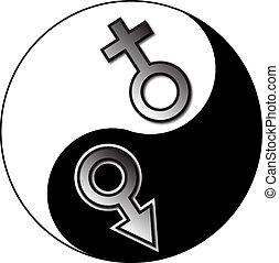 yin, mâle, femme, yang