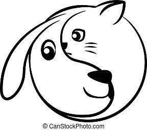 yinyang, chien, chat
