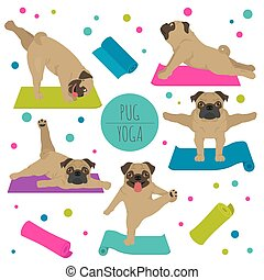 yoga, clipart, carlin, exercises., poses, chiens