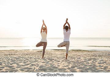 yoga, couple, dos, dehors, exercices, confection