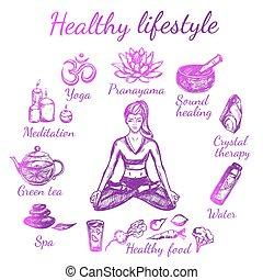 yoga, croquis, style de vie, composition