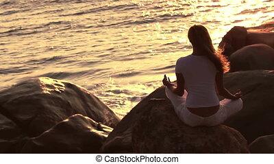 yoga., femme, pratiquant