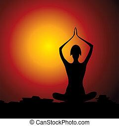 yoga, figure, femmes