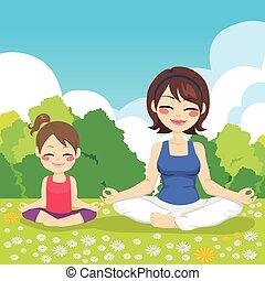 yoga, fille parc, mère
