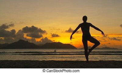 yoga, ii, coucher soleil, partie