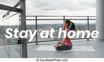 yoga, maison, asiatique, pandémie, pendant, covid19, femme, coronavirus, mots, séjour