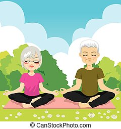 yoga, personne agee, parc