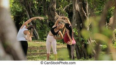 yoga, pregnant, parc, exercisme, instructeur, femmes