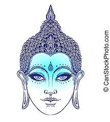 yoga, tatouage, bouddha, ésotérique, bouddhisme, zen, vecteur, illustration., indien, spirituel, vendange, art., thaï, dieu, face., hippie, spiritualité