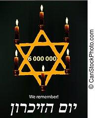 yom, étoile, azikaron, candles., holocauste, jaune, commémoratif, day., vecteur, illustration, hébreu, mondiale, remembrance., jour