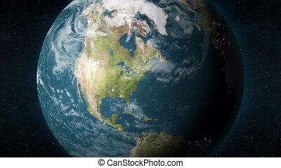 york, animation, ville, la terre, planète, bourdonner, new york, usa.