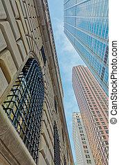 york, nouveau, détail, façade, architectural, bâtiment, manhattan