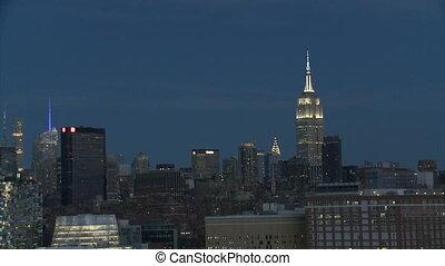 york, nouveau, empire, bâtiment, nuit, état