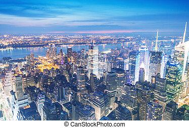 york., nouveau, horizon, manhattan, nuit