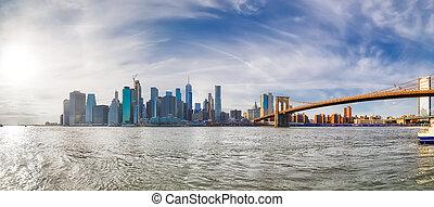 york, nouveau, manhattan, vue, coucher soleil, panoramique