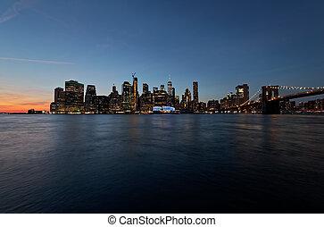 york, nouveau, manhattan, vue, exposition, long