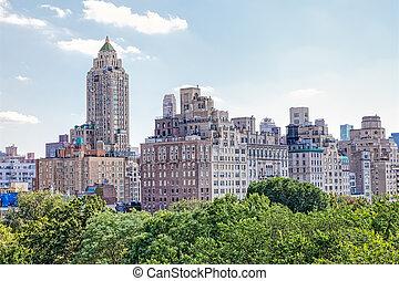 york, nouveau, midtown manhattan, vue, panoramique