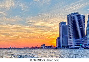 york, nouveau, vue, coucher soleil, manhattan