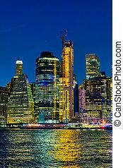 york, nuit, nouveau, manhattan, coloré, vue