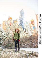 york, parc, central, ville, adorable, nouveau, girl