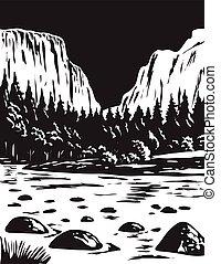 yosemite, el, national, usa, wpa, blanc, art, grayscale, capitan, noir, californie, parc, monochrome