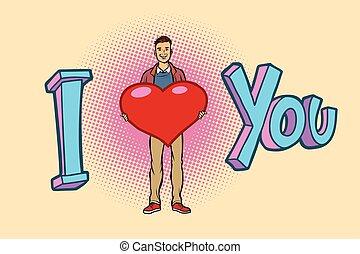 you., aimez coeur, jeune, valentin, homme