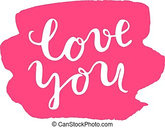 you., lettering., brosse, amour