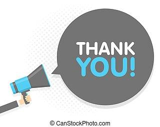you., remercier, texte, illustration, signe, megaphone., vecteur, parole, tenant main