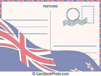 zélande, arrière-plan., drapeau, nouveau, postal, carte