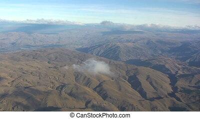 zélande, montagnes, vue, aérien, nouveau