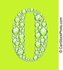 zéro, vert, bulles