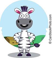 zebra, blanc, illustration, debout, vecteur, arrière-plan.