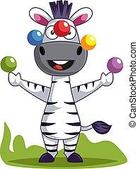 zebra, blanc, illustration, jonglerie, vecteur, arrière-plan.