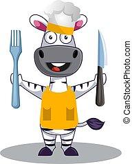 zebra, cuisine, illustration, blanc, vecteur, arrière-plan.