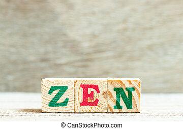 zen, fond, alphabet, bois, mot, lettre