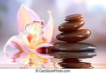 zen, harmonie, stones., spa, concept