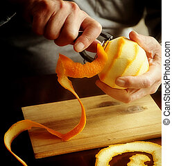 zeste, orange, enlever