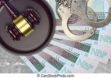 zloty, impôt, action éviter, procès, desk., marteau, tribunal, police, juge, judiciaire, menottes, factures, concept, polonais, ou, 10, bribery.
