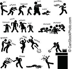zombi, undead, attaque, apocalypse