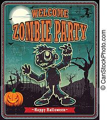 zombi, vendange, from, halloween, affiche
