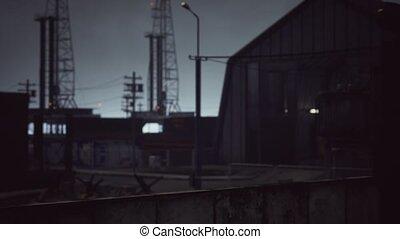 zone, sombre, nuageux, temps, industriel