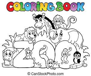 zoo, coloration, animaux, livre, signe