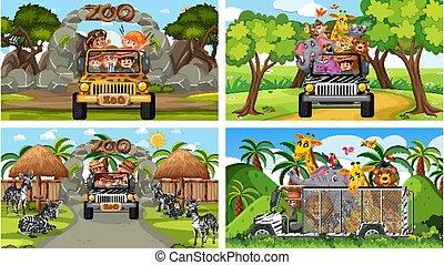 zoo, gosses, différent, scènes, animaux, quatre