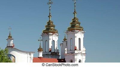 zoom, belarus., day., dehors, vue, été, vitebsk, résurrection, zoom, église, ensoleillé