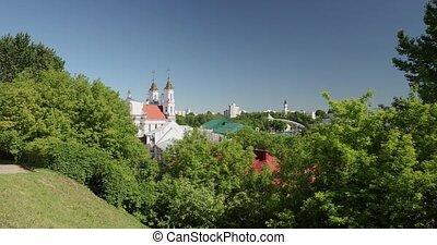 zoom, belarus., day., vue, été, vitebsk, résurrection, zoom, église, ensoleillé