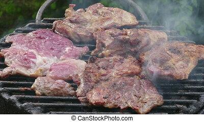 zoom, porc, vidéo, viande, grillade