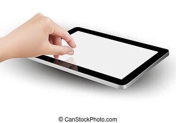 zoom, tablet's, screen., doigts, pincer, vector.